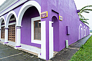 A brightly painted colonnaded style home in Tlacotalpan, Veracruz, Mexico. The tiny town is painted a riot of colors and features well preserved colonial Caribbean architectural style dating from the mid-16th-century.