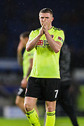 John Lundstram (Sheffield United) applauding the Sheffield United FC supporters following the Premier League match between Brighton and Hove Albion and Sheffield United at the American Express Community Stadium, Brighton and Hove, England on 21 December 2019.