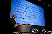 """Charles Komanoff, Traffic Modeler with Nurture Nature Foundation presents """"NYC Transportation, What Would Machiavelli Do?"""" during Manhattan Chamber of Commerce's Transportation Transformation Global Summit at NYIT in New York on April 26, 2012."""
