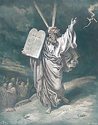 Machine colourized (AI) Moses Coming Down From Mt. Sinai Exodus 32:15 From the book 'Bible Gallery' Illustrated by Gustave Dore with Memoir of Dore and Descriptive Letter-press by Talbot W. Chambers D.D. Published by Cassell & Company Limited in London and simultaneously by Mame in Tours, France in 1866