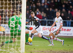 Dundee's Rory Loy has his shot saved by Inverness Caledonian Thistle's keeper Owain Fon-Williams. <br /> Dundee 1 v 1 Inverness Caledonian Thistle, SPFL Ladbrokes Premiership game played at Dens Park, 27/2/2016.