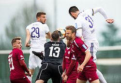 Jalen Arko of Triglav and Aleš Mertelj of Triglav vs Saša Ivković of Maribor during Football match between NK Triglav and NK Maribor in 25th Round of Prva liga Telekom Slovenije 2018/19, on April 6, 2019, in Sports centre Kranj, Slovenia. Photo by Vid Ponikvar / Sportida