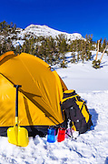 Yellow dome tent and gear, John Muir Wilderness, Sierra Nevada Mountains, California  USA
