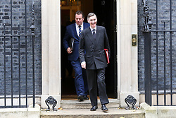 © Licensed to London News Pictures. 29/10/2019. London, UK. Leader of The House of Commons JACOB REES-MOGG (front) and Conservative Party Chief Whip MARK SPENCER (rear) departs from No 10 Downing Street after attending the weekly cabinet meeting. Photo credit: Dinendra Haria/LNP