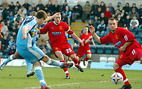 Photo: Leigh Quinnell.<br /> Wycombe Wanderers v Shrewsbury Town. Coca Cola League 2. 11/03/2006. Wycombes Matt Bloomfield fires in a goal.