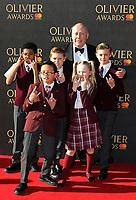 Julian Fellowes, kids from School Of Rock, The Olivier Awards, Royal Albert Hall, London UK, 09 April 2017, Photo by Richard Goldschmidt