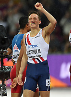 Athletics - 2017 IAAF London World Athletics Championships - Day Six<br /> <br /> Men's 400m hurdles Final<br /> <br /> Karsten Warholm of Norway wins the Gold medal, at the London Stadium.<br /> <br /> COLORSPORT/ANDREW COWIE