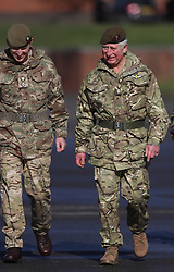 The Prince of Wales (right) arrives to present campaign medals to soldiers from the 1st Battalion Welsh Guards at Elizabeth Barracks in Woking following their return from Afghanistan.