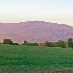View of Mount Kearsarge and Black Mountain from a farm in Sutton, New Hampshire. Panoramic.
