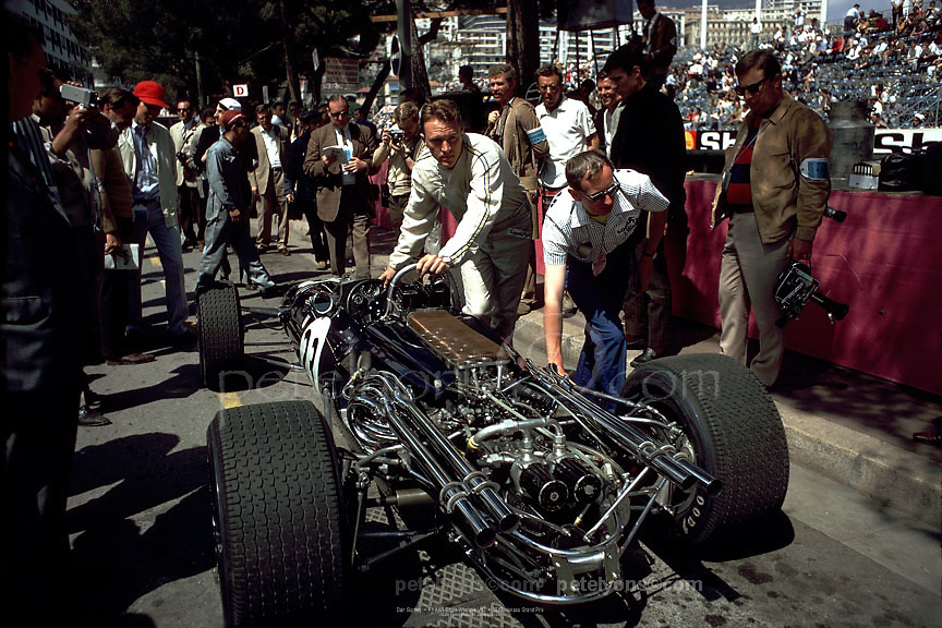 Dan Gurney with his F1 Eagle with Gurney-Weslake V12 at the 1967 Monaco GP. Photo by Ozzie Lyons.