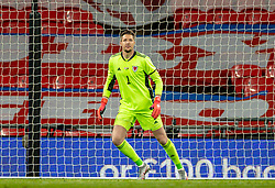 LONDON, ENGLAND - Thursday, October 8, 2020: Wales' goalkeeper Wayne Hennessey during the International Friendly match between England and Wales at Wembley Stadium. The game was played behind closed doors due to the UK Government's social distancing laws prohibiting supporters from attending events inside stadiums as a result of the Coronavirus Pandemic. England won 3-0. (Pic by David Rawcliffe/Propaganda)