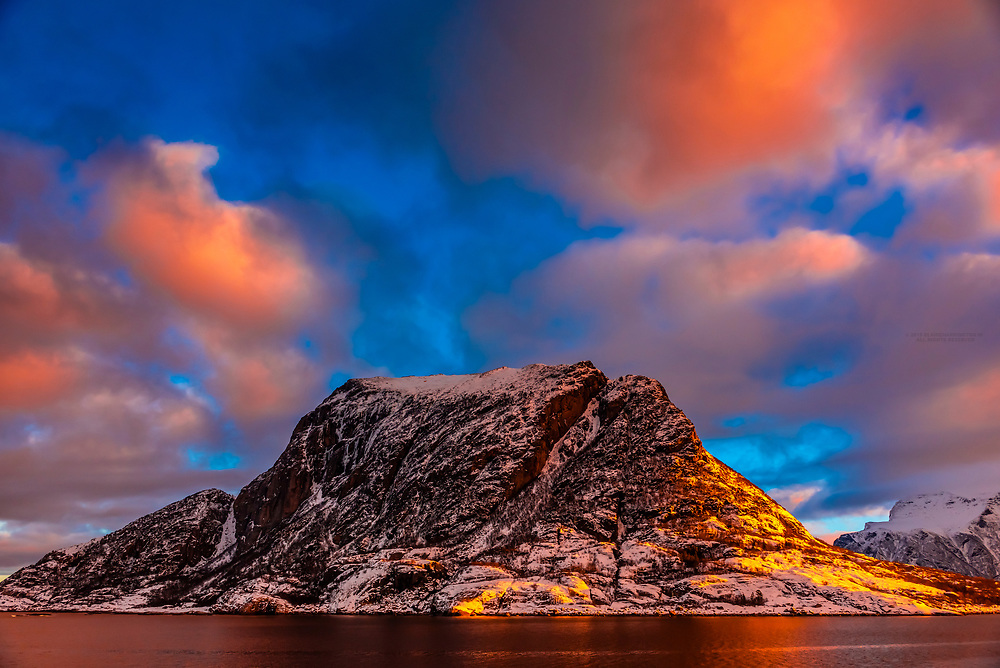 Coastline near Meloy, north of the Arctic Circle, in Northern Norway.