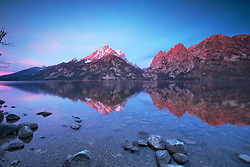 """Jenny Lake Sunrise,  Grand Teton Reflection, Grand Teton National Park<br /> <br /> For production prints or stock photos click the Purchase Print/License Photo Button in upper Right; for Fine Art """"Custom Prints"""" contact Daryl - 208-709-3250 or dh@greater-yellowstone.com"""