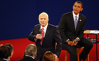 Republican Presidential Nominee Sen. John McCain (AZ) and Democratic Presidential Nominee Sen. Barack Obama (IL) participate in the second presidential debate, moderated by journalist Tom Brokaw, at Belmont University in Nashville, Tennessee, on October 7, 2008.    (UPI Photo/Frederick Breedon IV)