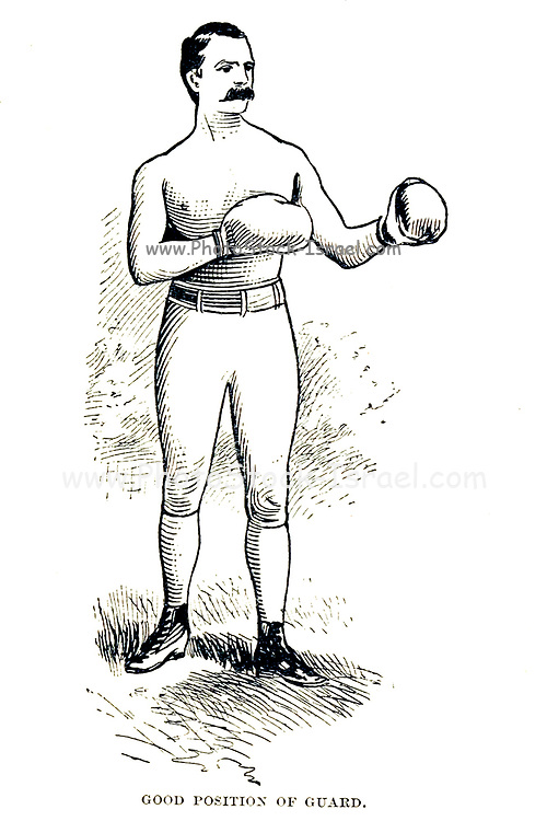 Good Position of Boxing Guard From the book  ' Athletics and manly sport ' by John Boyle O'Reilly, 1844-1890 Published in Boston, by Pilot publishing company in 1890. DEDICATED TO THOSE WHO BELIEVE THAT A LOVE FOR INNOCENT SPORT, PLAYFUL EXERCISE. AND ENJOYMENT OF NATURE, IS A BLESSING INTENDED NOT ONLY FOR THE YEARS OF BOYHOOD, BUT FOR THE WHOLE LIFE OF A MAN