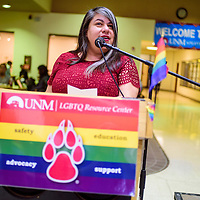 LGTBQ Resource Center Director Alma Rosa Silva-Bañuelos addresses students and faculty during the UNM-Gallup LGTBQ Welcome Back Days celebration Wednesday at UNM-G.