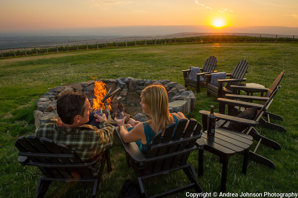 Drew & Maura Bledsoe enjoy view over their McQueen Vineyard site at the top of Seven Hills Vineyard, Milton-Freewater, Walla Walla Ava