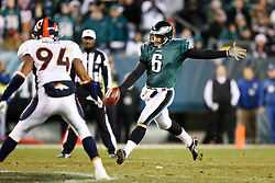 Philadelphia Eagles punter Sav Rocca #6 punts the ball during the NFL game between the Denver Broncos and the Philadelphia Eagles on December 27th 2009. The Eagles won 30-27 at Lincoln Financial Field in Philadelphia, Pennsylvania. (Photo By Brian Garfinkel)
