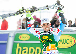 FANARA Thomas of France celebrates during Trophy ceremony after the Men Giant Slalom race of FIS Alpine Ski World Cup 54th Vitranc Cup 2015, on March 14, 2015 in Kranjska Gora, Slovenia. Photo by Vid Ponikvar / Sportida