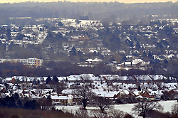 © Licensed to London News Pictures.27/02/2018<br /> Sevenoaks, UK.<br /> White views across Sevenoaks weald in Kent of the overnight snow fall. <br /> Photo credit: Grant Falvey/LNP
