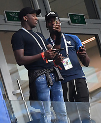 Paul Pogba 's family during the FIFA World Cup 2018 Round of 8 match at the Nizhny Novgorod Stadium Russia, on July 6, 2018. . Photo by Christian Liewig/ABACAPRESS.COM