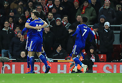 Leicester City's Harry Maguire celebrates scoring his side's first goal of the game during the Premier League match at Anfield, Liverpool.