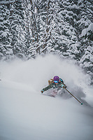 A late Jaunuary storm brings much needed snow to the Wasatch Mountains. Kaylin Richardson soaks it up in the Brighton backcountry, Utah.