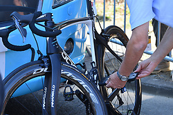 July 8, 2018 - La Roche-Sur-Yon, FRANCE - An offical uses a tablet detecting magnetic flux density, as he checks a bicycle for mechanical doping ahead of the second stage of the 105th edition of the Tour de France cycling race, 182,5km from Mouilleron-Saint-Germain to La Roche-sur-Yon, France, Sunday 08 July 2018. This year's Tour de France takes place from July 7th to July 29th. BELGA PHOTO DAVID STOCKMAN (Credit Image: © David Stockman/Belga via ZUMA Press)