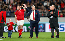 Wales' Head Coach Warren Gatland salutes the fans after the final whistle of the 2019 Rugby World Cup bronze final match at Tokyo Stadium.