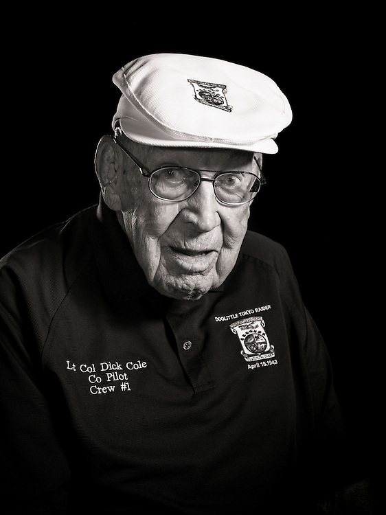 """Lt. Col. Dick Cole was Jimmy Doolittle's co-pilot during the famous """"Doolittle Raid"""" on Tokyo in April, 1942.  It was a turning point in the Pacific War, and an important morale boost for the Americans.   <br /> <br /> Created by aviation photographer John Slemp of Aerographs Aviation Photography. Clients include Goodyear Aviation Tires, Phillips 66 Aviation Fuels, Smithsonian Air & Space magazine, and The Lindbergh Foundation.  Specialising in high end commercial aviation photography and the supply of aviation stock photography for advertising, corporate, and editorial use."""