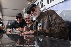 Bill, Nancy and Willie G. Davidson at the Davidson family autograph session at the Harley-Davidson footprint at Daytona International Speedway during the Daytona Bike Week 75th Anniversary event. FL, USA. Saturday March 5, 2016.  Photography ©2016 Michael Lichter.