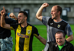 Jaka Ihbeisheh of Kalcer Radomlje and Rok Hanzic, head coach of Kalcer Radomlje celebrates after qualilfying to the First Slovenian league Prva liga during football match between NK Kalcer Radomlje and NK Brezice Terme Catez in 20th Round of 2. SNL 2020/21, on May 15, 2021 in Sports park Radomlje, Slovenia. Photo by Vid Ponikvar / Sportida