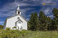 Historic St Josephs Catholic church in Zortman, Montana, USA