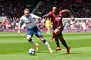 Nathaniel Clyne (23) of AFC Bournemouth on the attack chased by Christian Eriksen (23) of Tottenham Hotspur during the Premier League match between Bournemouth and Tottenham Hotspur at the Vitality Stadium, Bournemouth, England on 4 May 2019.