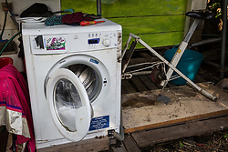 Sipson, UK. 5th June, 2018. A washing machine operated by pedal power is pictured at Grow Heathrow. Grow Heathrow is a squatted off-grid eco-community garden founded in 2010 on a previously derelict site close to Heathrow airport to rally support against government plans for a third runway and it has since made a significant educational and spiritual contribution to life in the Heathrow villages, which remain threatened by Heathrow airport expansion.