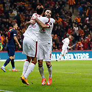 Galatasaray's Umut Bulut celebrate his goal with team mate during their Turkish Super League soccer match Galatasaray between Mersin idman Yurdu at the AliSamiYen Spor Kompleksi TT Arena at Seyrantepe in Istanbul Turkey on Saturday, 20 December 2014. Photo by Aykut AKICI/TURKPIX