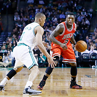 13 February 2013: Chicago Bulls point guard Nate Robinson (2) looks to pass the ball over Boston Celtics point guard Avery Bradley (0) during the Boston Celtics 71-69 victory over the Chicago Bulls at the TD Garden, Boston, Massachusetts, USA.