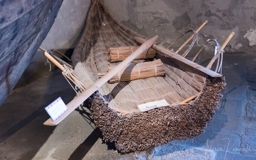 A reed boat on display at the Museo Storico Navale di Venezia in Venice, Italy
