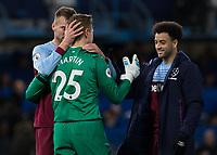 Football - 2019 / 2020 Premier League - Chelsea vs. West Ham United<br /> <br /> West Ham players Andriy Yarmolenko (West Ham United) and (West Ham United) congratulate David Martin (West Ham United) after his performance  at Stamford Bridge <br /> <br /> COLORSPORT/DANIEL BEARHAM