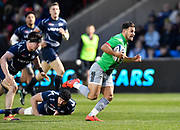 Harlequins scrum-half Danny Care breaks past Sale Sharks flanker Tom Curry during a Gallagher Premiership match at the AJ Bell Stadium, Eccles, Greater Manchester, United Kingdom, Friday, April 5, 2019. (Steve Flynn/Image of Sport)