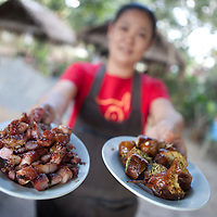 Northern Thai delicacies Mou Yang (grilled pork) & Sai Oua (spicy sausage made fresh next to Crazy Horse Buttress, Chiang Mai, Thailand