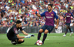 August 15, 2018 - Barcelona, Spain - Esteban Andrada and Luis Suarez during the match between FC Barcelona and C.A. Boca Juniors, corresponding to the Joan Gamper trophy, played at the Camp Nou, on 15th August, 2018, in Barcelona, Spain. (Credit Image: © Joan Valls/NurPhoto via ZUMA Press)