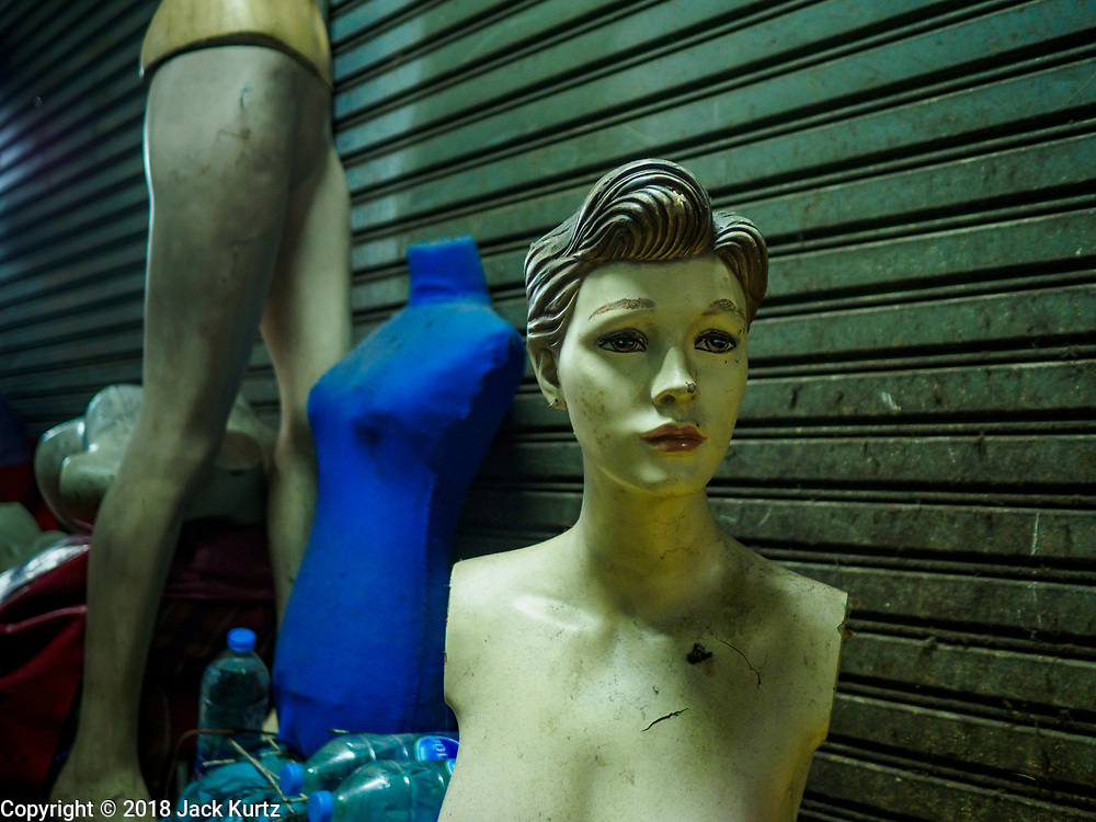 23 FEBRUARY 2018 - BANGKOK, THAILAND: Abandoned dress forms and mannequins in Pratunam Market. Pratunam Market was one of the largest clothing markets in Bangkok. New airconditioned markets, like Platinum and Palladium malls opened nearby, siphoning away customers. Now there are only a handful of merchants left in the market and Bangkok city officials have plans to shut the market and redevelop the land.      PHOTO BY JACK KURTZ