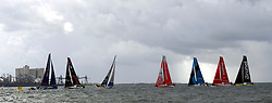 LISBON, Nov. 4, 2017  Race teams compete during the In-port Race prior to the Volvo Ocean Race in Lisbon, Portugal, on Nov. 3, 2017. (Credit Image: © Zhang Liyun/Xinhua via ZUMA Wire)