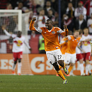 Oscar Boniek García, Houston Dynamo, celebrates after team mate Omar Cummings had scored his sides winner during the New York Red Bulls V Houston Dynamo, Major League Soccer second leg of the Eastern Conference Semifinals match at Red Bull Arena, Harrison, New Jersey. USA. 6th November 2013. Photo Tim Clayton