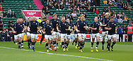 The Scottish team warming up during the Rugby World Cup Quarter Final match between Australia and Scotland at Twickenham, Richmond, United Kingdom on 18 October 2015. Photo by Matthew Redman.