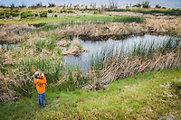 Woman bird watches and looks through binoculars in marsh area of Owens River, Eastern Sierras, California.