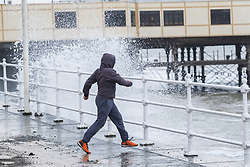 © Licensed to London News Pictures. 23/02/2019. Aberystwyth, UK. A high spring tide and a 'big sea' bring huge waves crashing into the promenade and sweeping tons of sand and shingle over the seafront in Aberystwyth on the west coast of Wales this Saturday morning. The weather is very mild, and is forecast to become even warmer in the coming days. Photo credit: Keith Morris/LNP