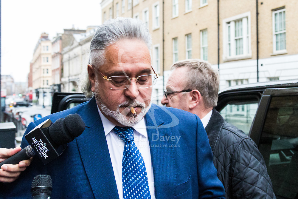 London, December 07 2017. Indian business tycoon, head of United Breweries and co-owner of Formula One team Force India Vijay Mallya arrives at Westminster Magistrates Court in Londonwhere his extradition hearing is taking place. He is wanted on fraud charges in India. © Paul Davey