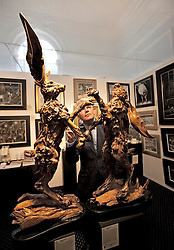 © Licensed to London News Pictures. 19/04/2012. London, U.K..Sculptures by James doran-webb, 'Boxing Hares' from the contemporary Fine Art Gallery, Eton. The Setting up of The Chelsea Art Fair in Chelsea Old Town Hall where Around 35 galleries and dealers offer modern British and contemporary art for sale, including paintings, drawings, etchings and sculptures. Represents 500 international artists, with art worth up to £20k. The fair runs from 19th April - 22nd April..Photo credit : Rich Bowen/LNP